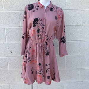 Free People Fuchsia Long Sleeve Button Up Dress